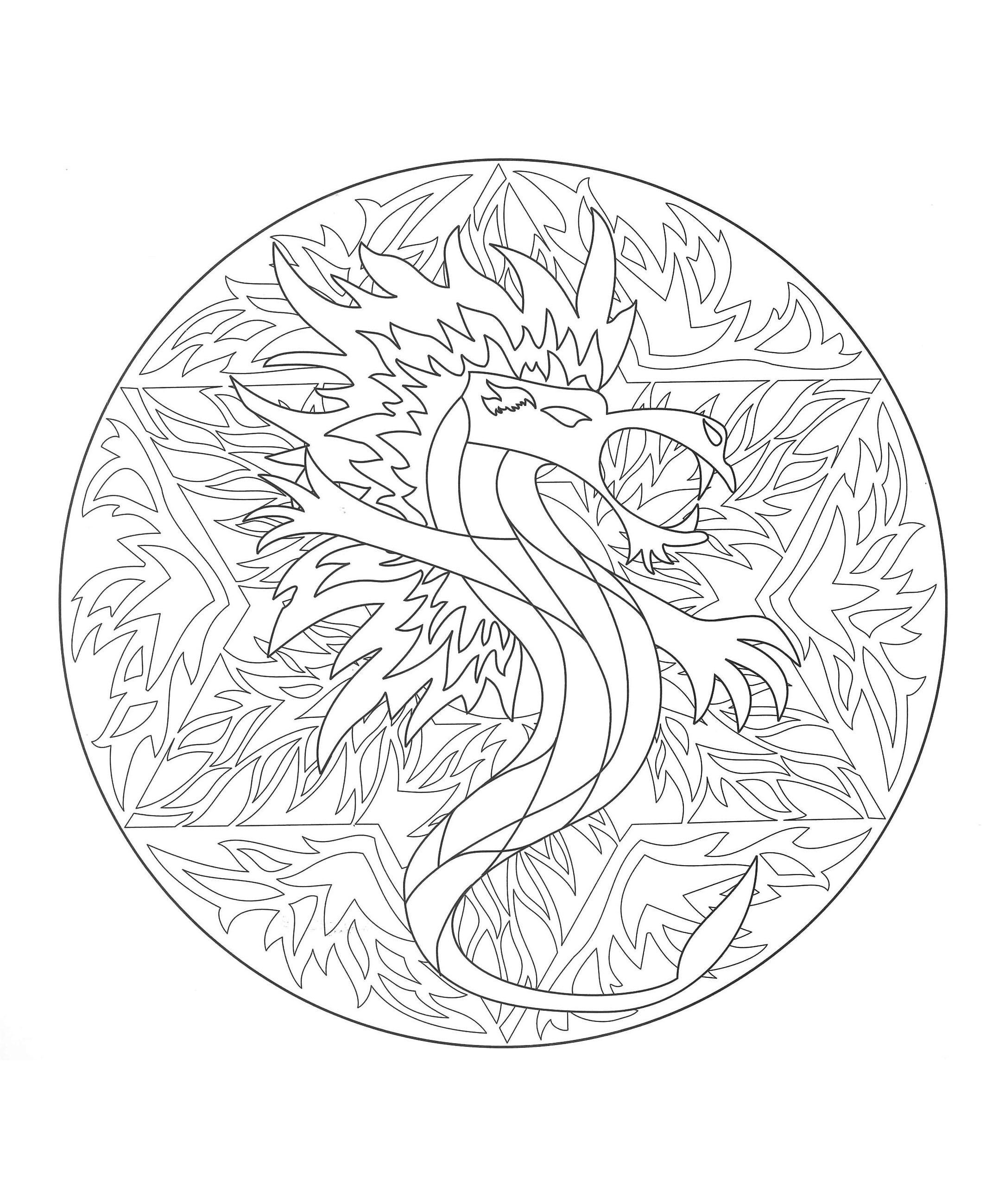 Joli Mandala Dragon Mandalas Difficiles Pour Adultes 100 Mandalas Zen Anti Stress