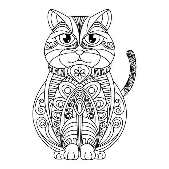 Gato Mandala para Imprimir y Colorear