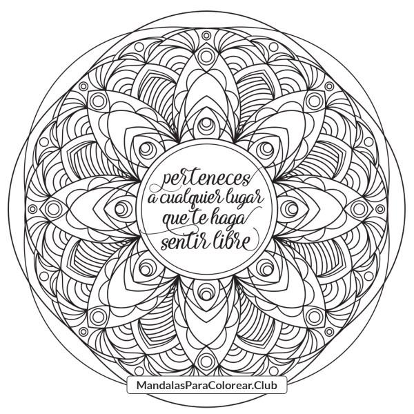 Mandala con frase de motivación sobre pertenecer y libertad