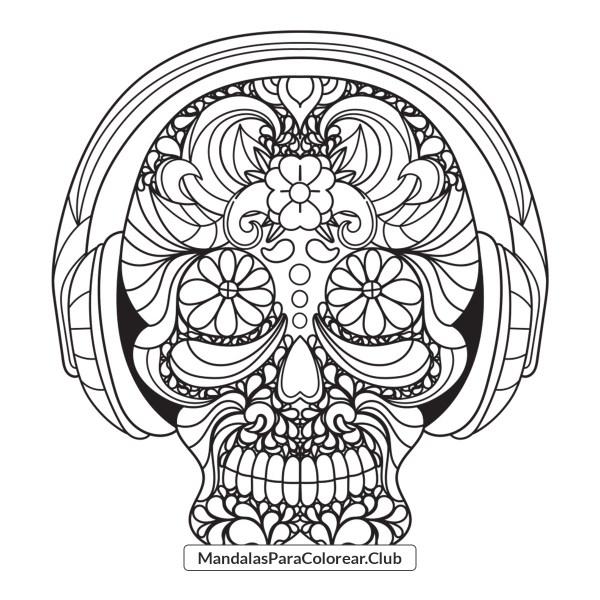 Mandala de Calavera con Audífonos