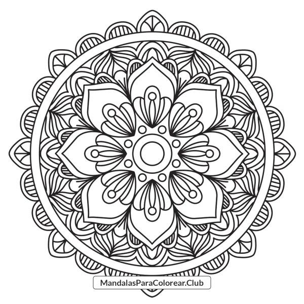 Dibujo de Mandala de Flores Abstractas