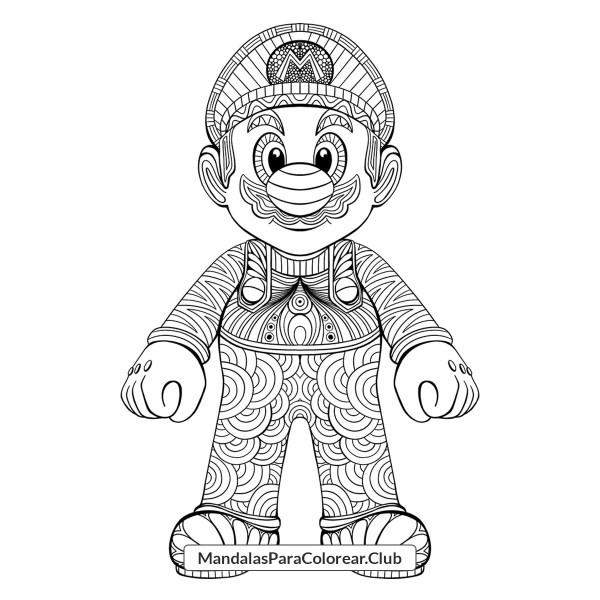 Super Mario Bros 3D Zentangle Art