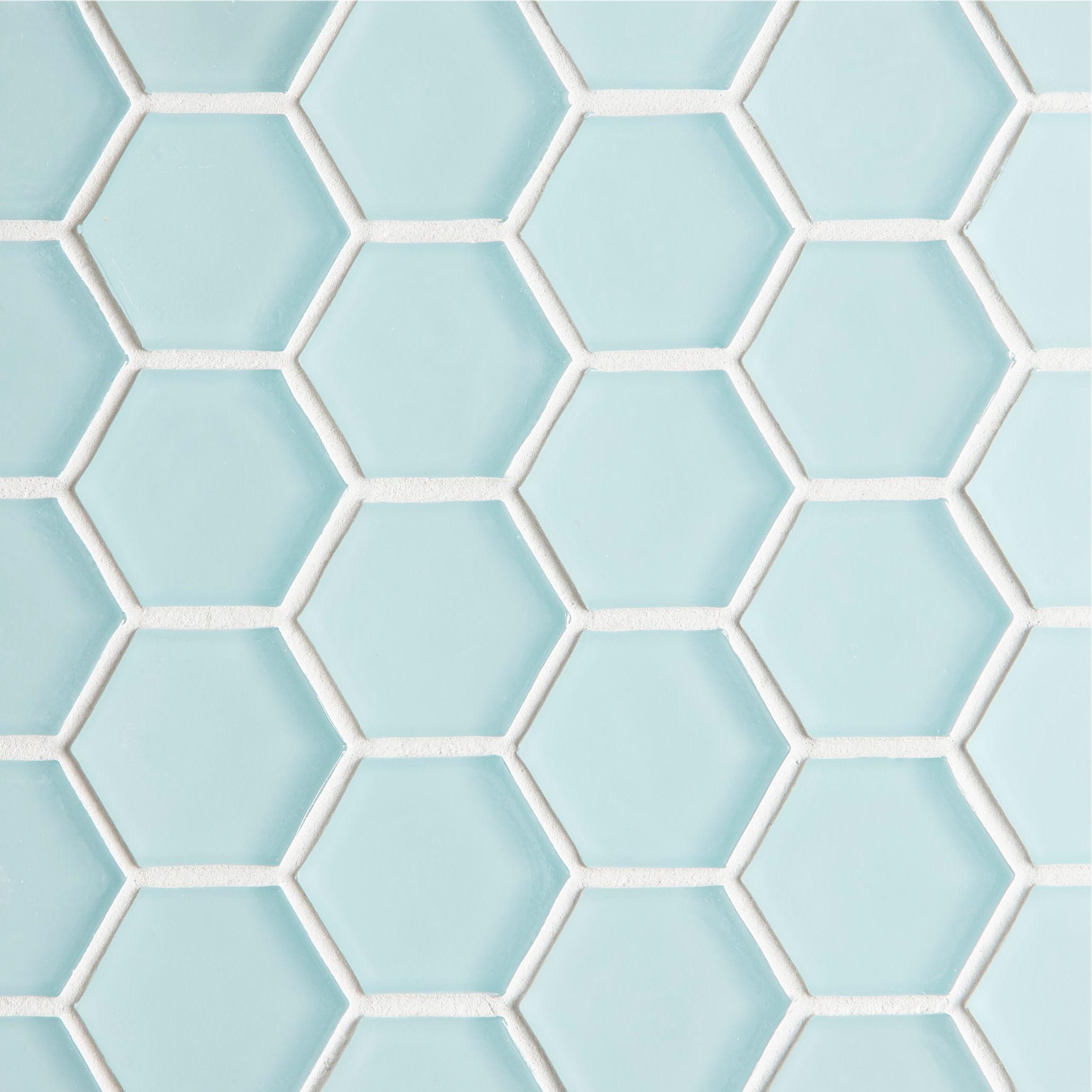 glacier blue glass hexagon mosaic tile mandarin stone