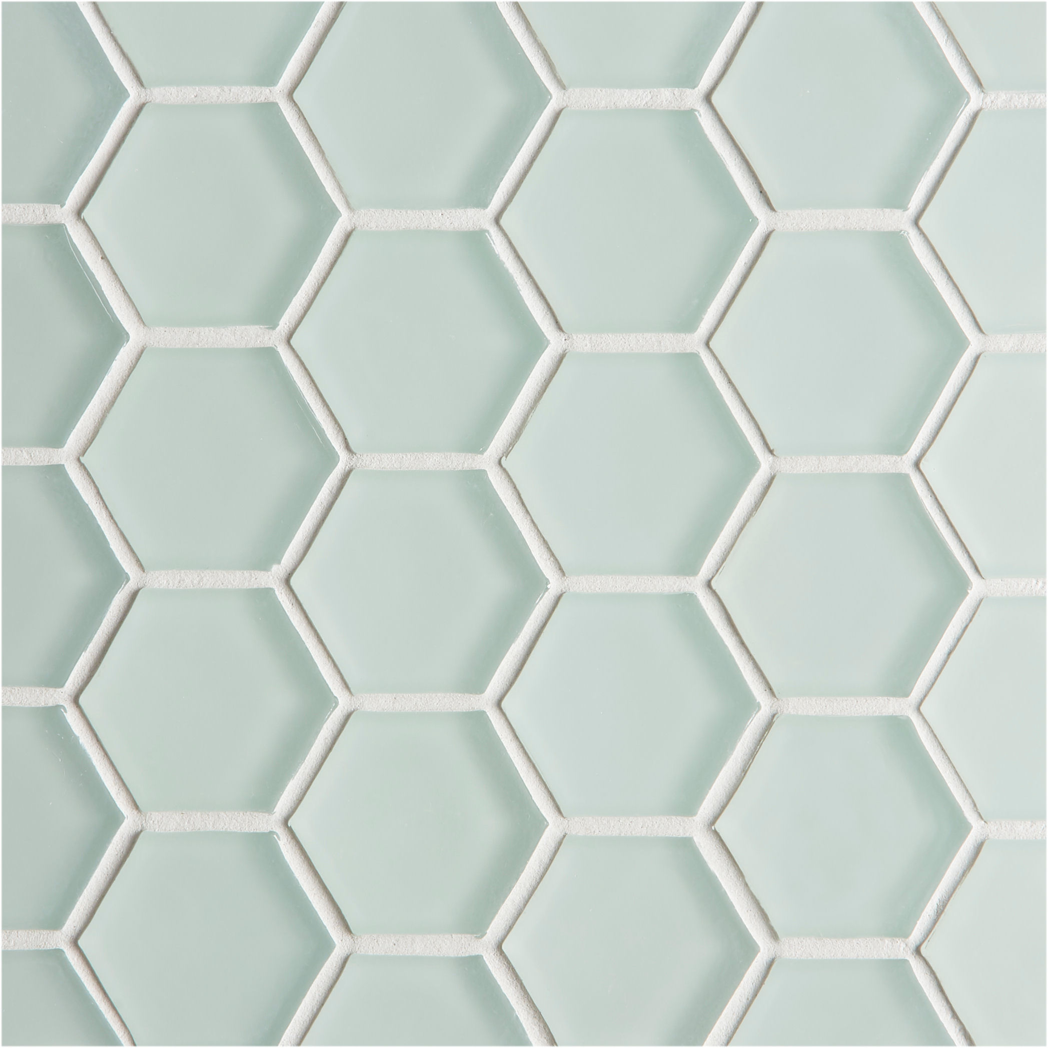 glacier light green glass hexagon mosaic tiles