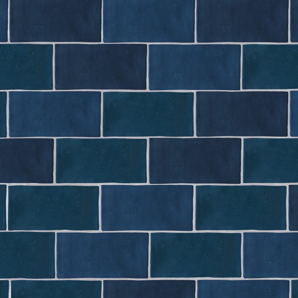 zellige nouveau ocean blue metro gloss ceramic tile