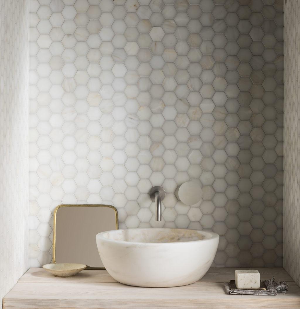 calacatta amber honed marble hexagon mosaic