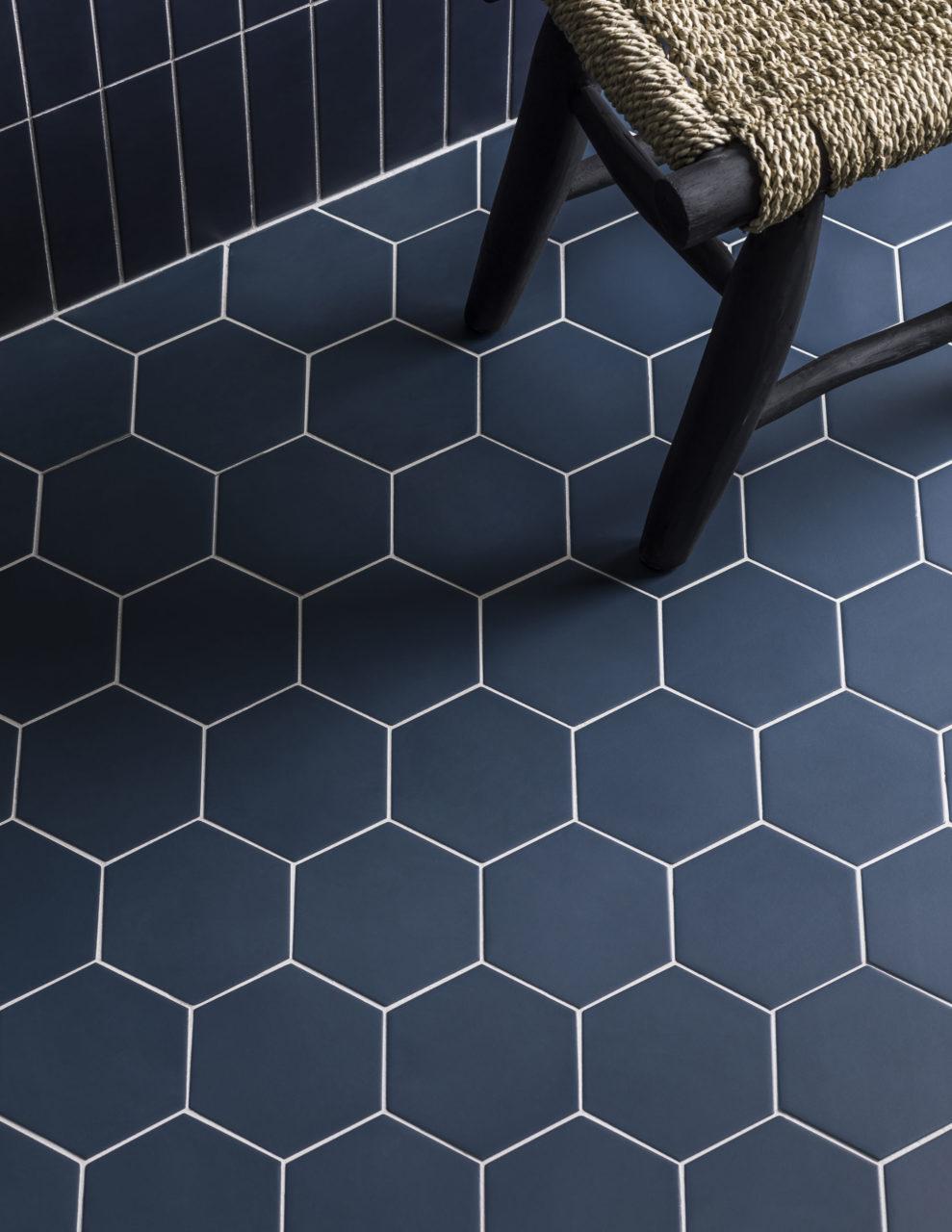 oska navy matt porcelain hexagon