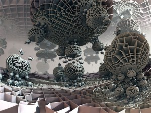A hybrid 3D fractal created with Mandelbulb 3D (MB3D). 'Base Response #8' by Matthew Haggett, 2014