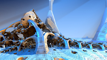 """""""Lunar Arctic Biosphere"""" by Hal Tenny. Click for parameters."""