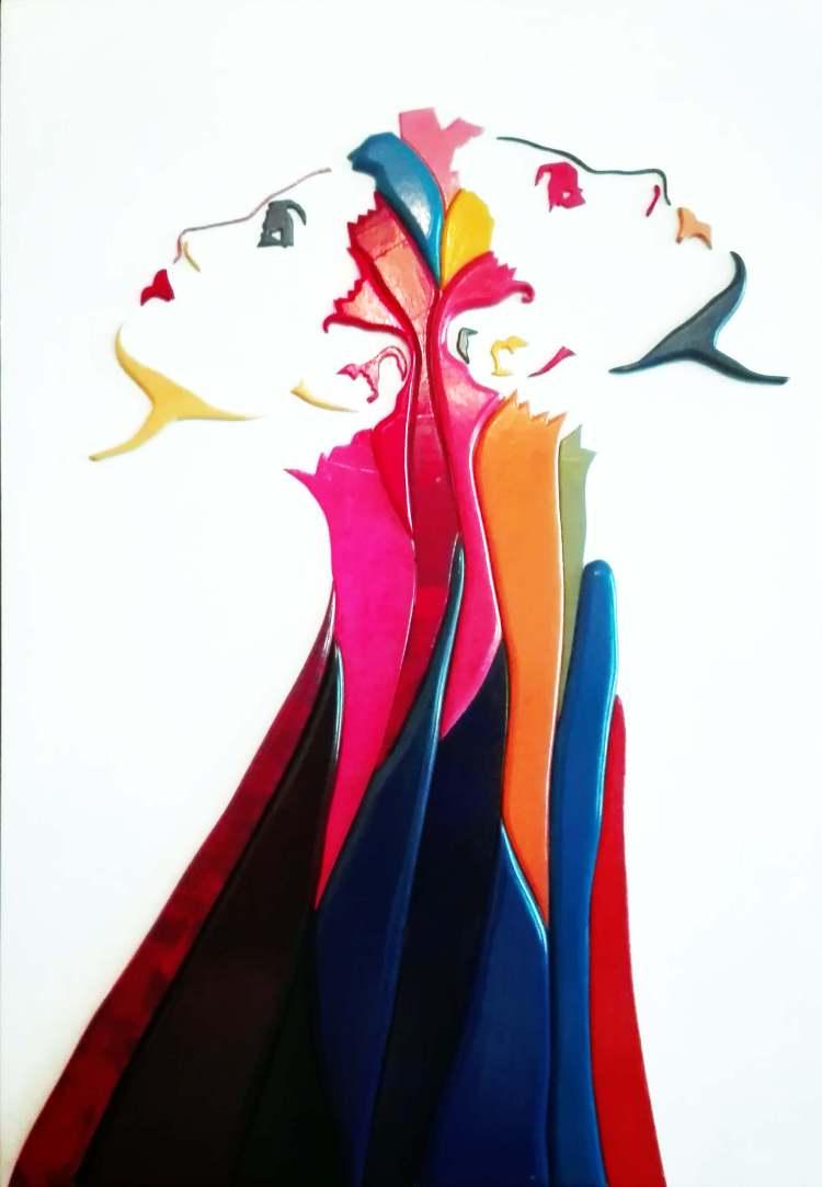 Dario Brevi, Fiore d'oppio, Opera in MDF, 90x130, 2001