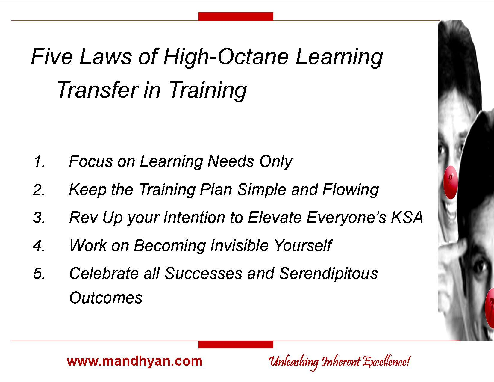 Five Laws for High-Octane Learning Transfer in Training
