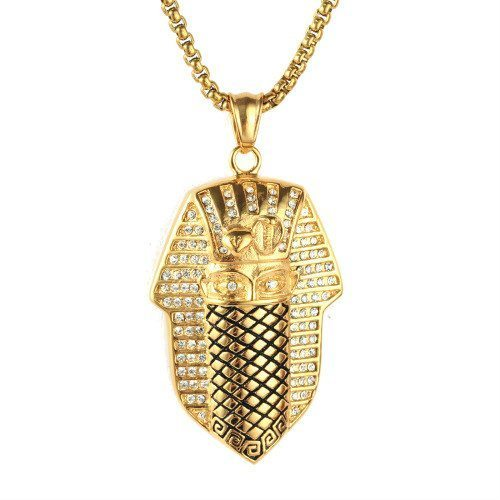 316L Gold Stainless Steel Egyptian Pharaoh Goon Mask With Chain ETH 007