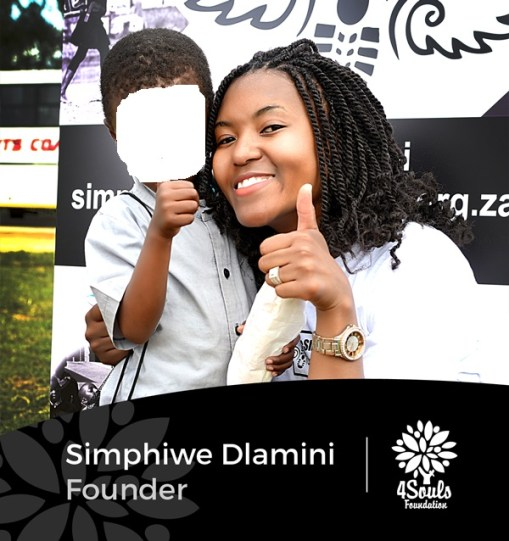 4Souls Foundation Founder Simphiwe Dlamini after a school shoes and food drive