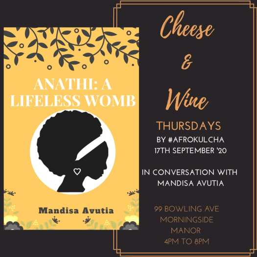 cheese and wine poster, in conversation with Mandisa Avutia. Afrokulcha cheese and wine Thursdays