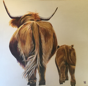 """Highland cow and calf from rear, """"Butt and Ben"""""""