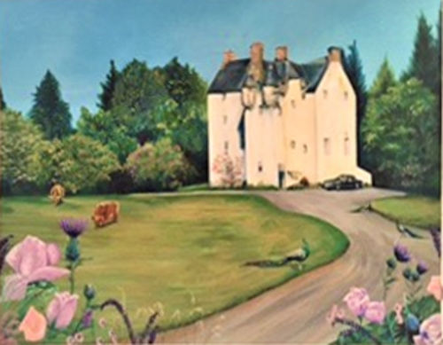"""Painting of a castle, """"Happily ever after"""""""