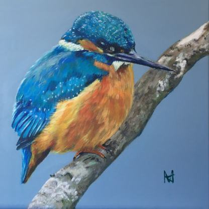 Acrylic painting of a Kingfisher