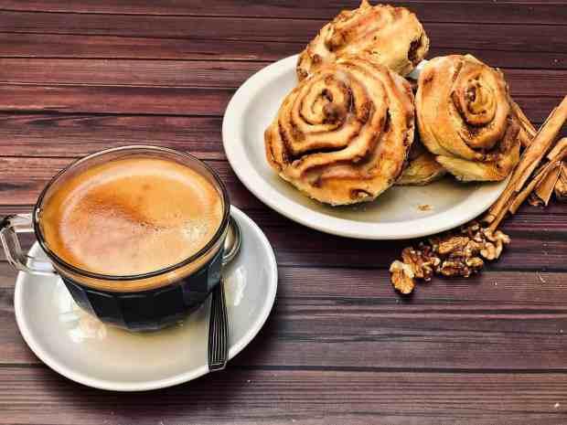 cinnamon rol and coffee; yummy big breakfast by design