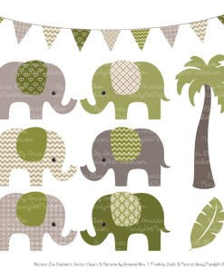 Avocado Patterned Elephant Clipart & Patterns