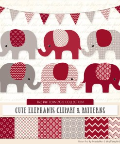 Ruby Patterned Elephant Clipart & Patterns
