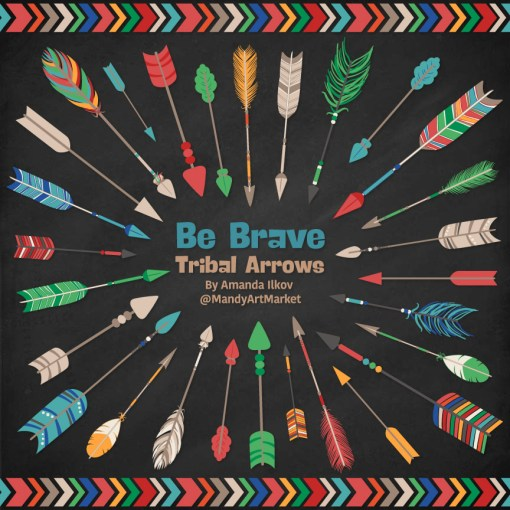 Crayon Box Boy Tribal Arrows Clipart