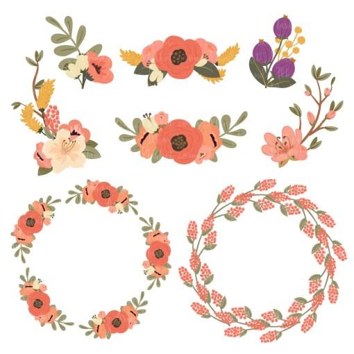 Round Floral Wreaths Clipart in Antique Peach