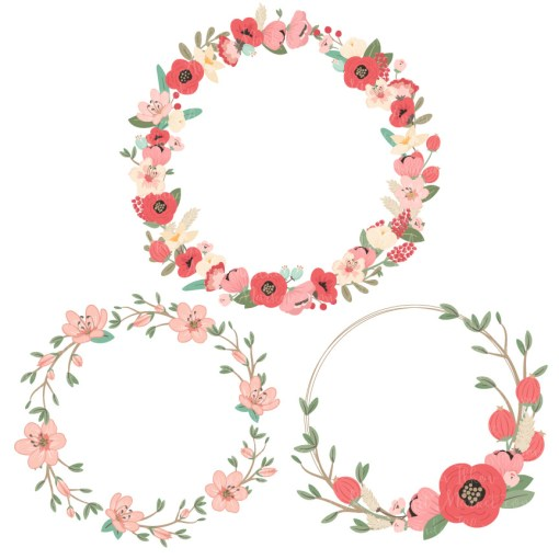 Round Floral Wreaths Clipart in Mint & Coral
