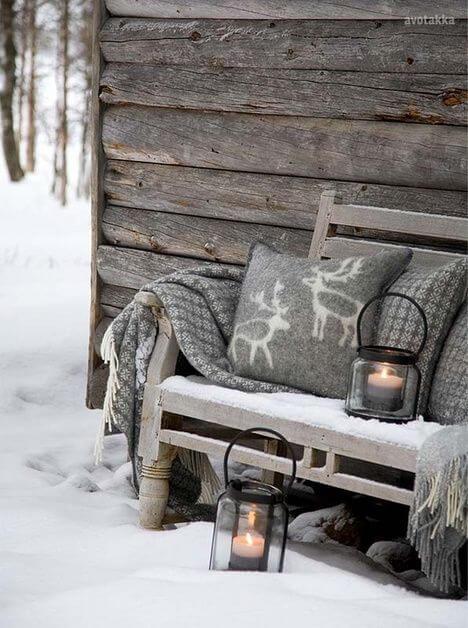 Scandinavian Christmas Bench