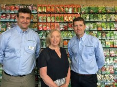 David Turner and Ian Cross with Deborah Meaden at this year's RHS Chelsea Flower Show. Picture; Mr Fothergill's