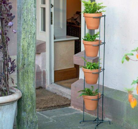 Tower with four 19cm terracotta pots. Pcture; Crocus