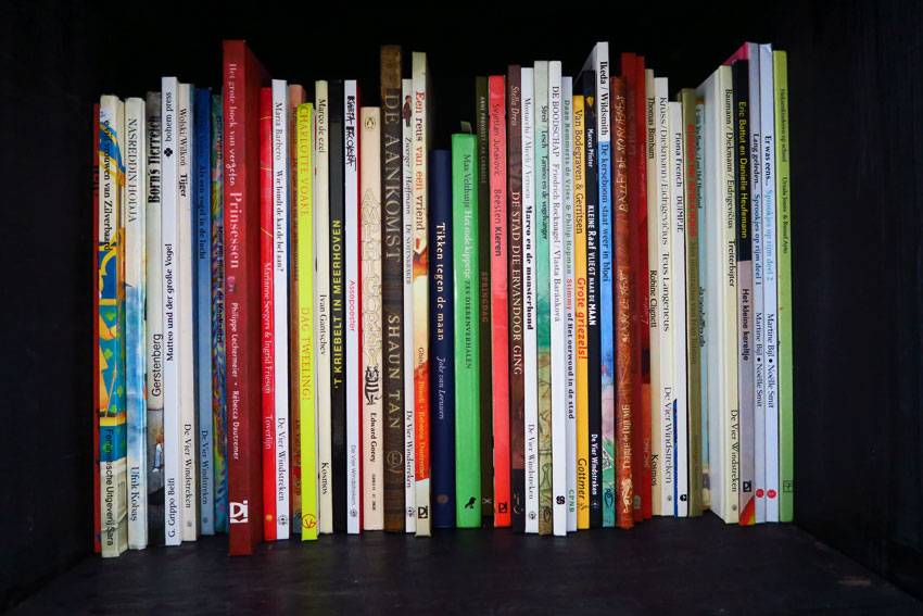 a shelf of picture books in mandy van goeije book case in which she finds inspiration