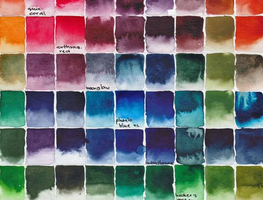 Color-my-page Art Journal Challenge #3, the Daniel Smith watercolor Caroline Edition