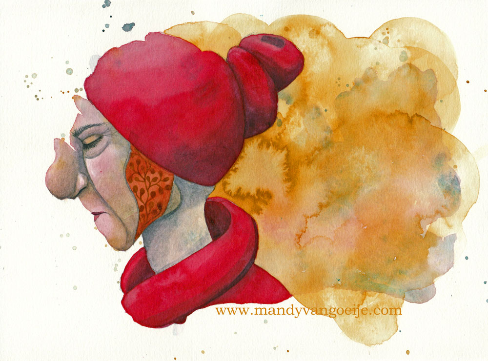 La Vieille Dame painting in Daniel Smith watercolors by mandy van goeije