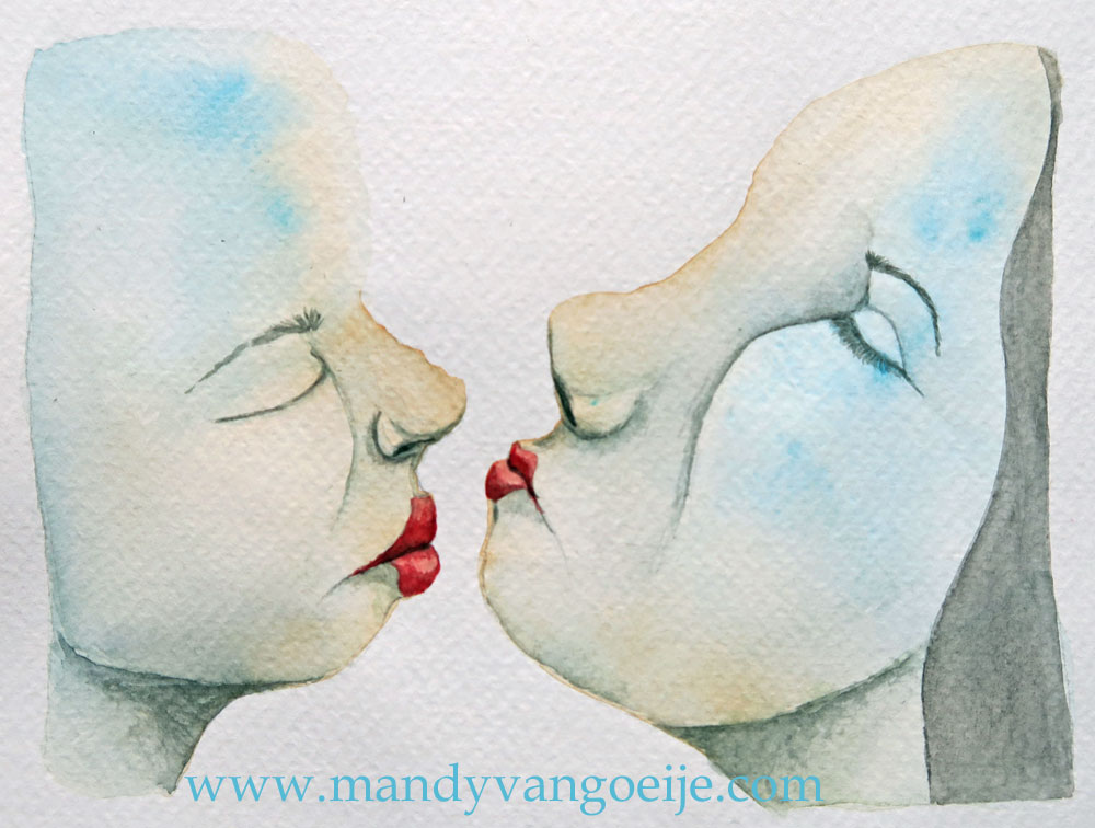 The Kiss #2 - watercolor