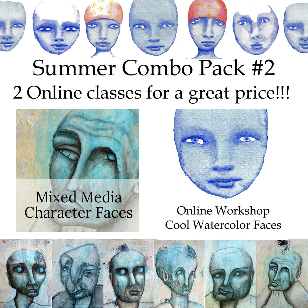 cool watercolor faces and mixed media character faces online workshops by mandy van goeije