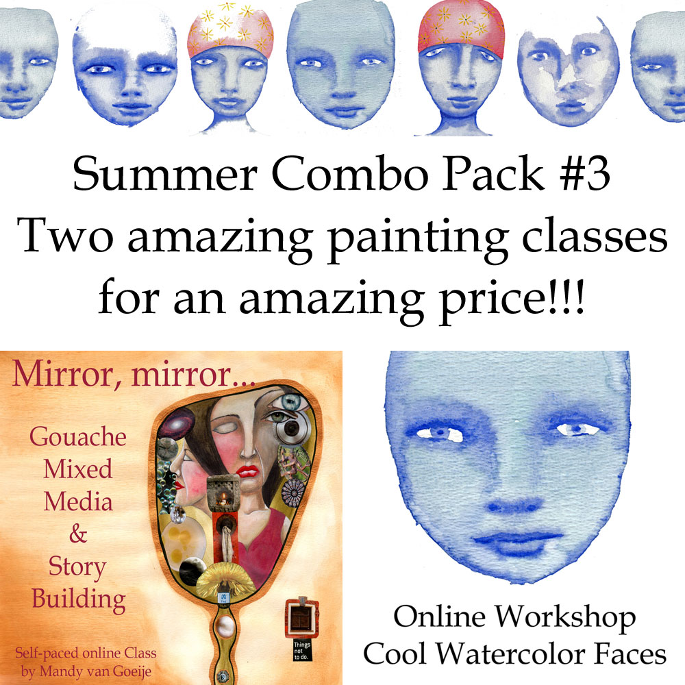 Cool watercolor faces and gouache and mixed media workshop by mandy van goeije