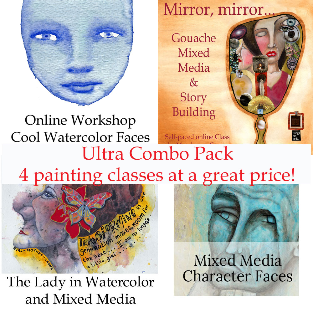 super combo pack art sale four online classes by mandy van goeije watercolor mixed media and gouache