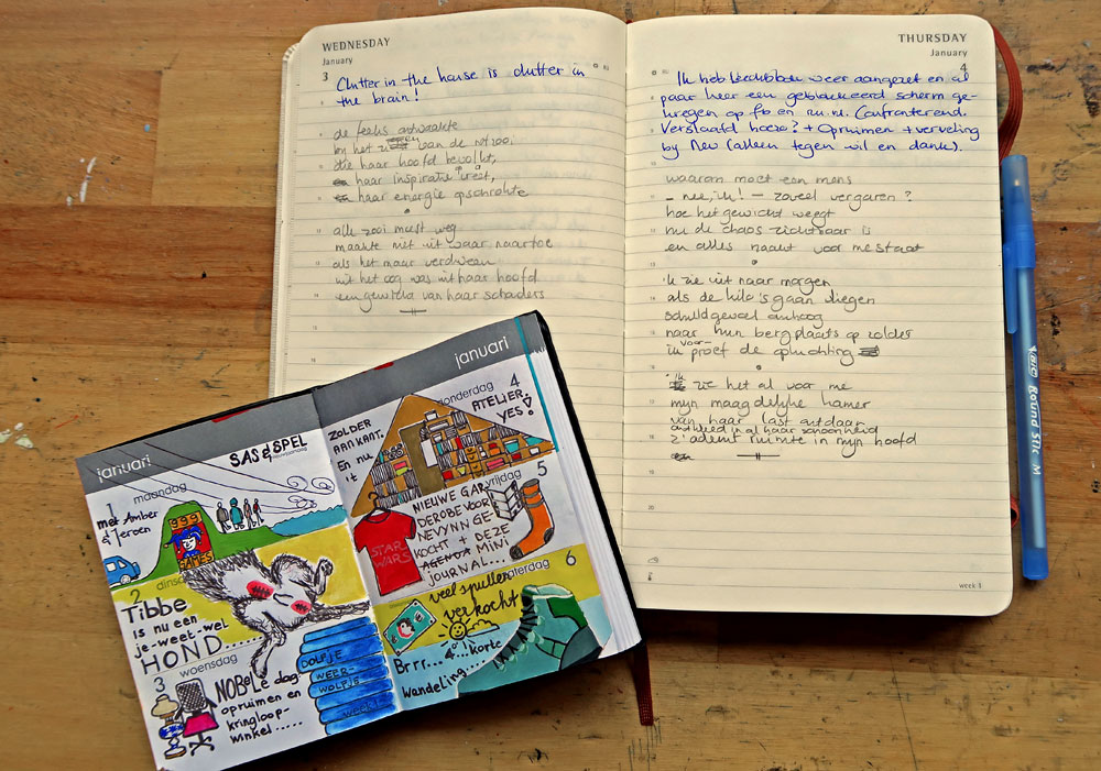 Spread of illustrated daily journal + spread of Tanka diary project by Mandy van Goeije