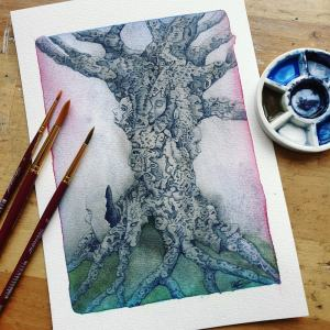 watercolor painting treeworld, web of life by Mandy van Goeije