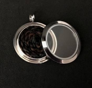 Silver Horsehair Memory Locket - Secure screw Type