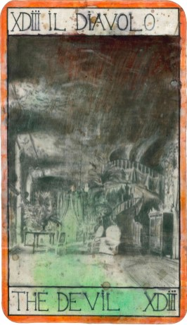 Untitled (XDIII. Il diavolo), 1999-2010s, pencil and acrylic ink on Fabriano paper, cm 20x34.5 (1 of over 60 tarot cards)