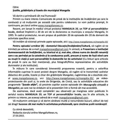 Către Scolile si liceele din Mangalia martie 2015 - Copy