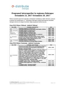 Intreruperi programate in zona Dobrogea 23.10.2017 - 29.10.2017-pag1