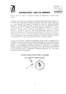 Informare actionari - Finalizarea negocierilor privind documentele tranzactiei dintre societatea Santierul Naval 2 Mai S.A-pag3