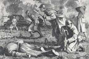 Pictură înfățișând dobrogenii Diviziei 9 Infanterie în focul luptelor pentru eliberarea orașului Carei