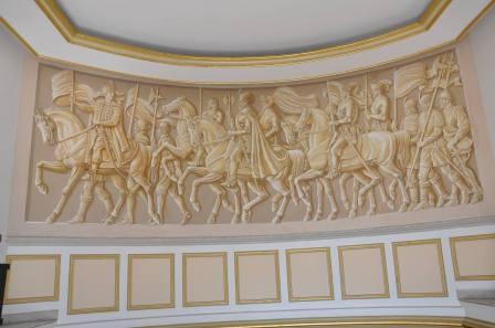 """Pictura murala de 7 x 2,5m. Se afla la Muzeul Militar National """"Regele Ferdinand I"""" din Bucuresti."""
