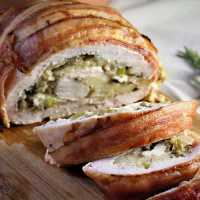 Bacon covered Turkey Roulade with Mushroom Filling