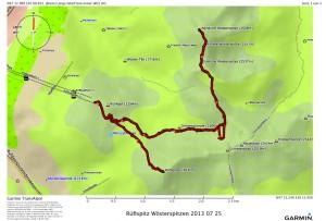 Rüfispitz Wösterspitzen 2013 07 25 Route