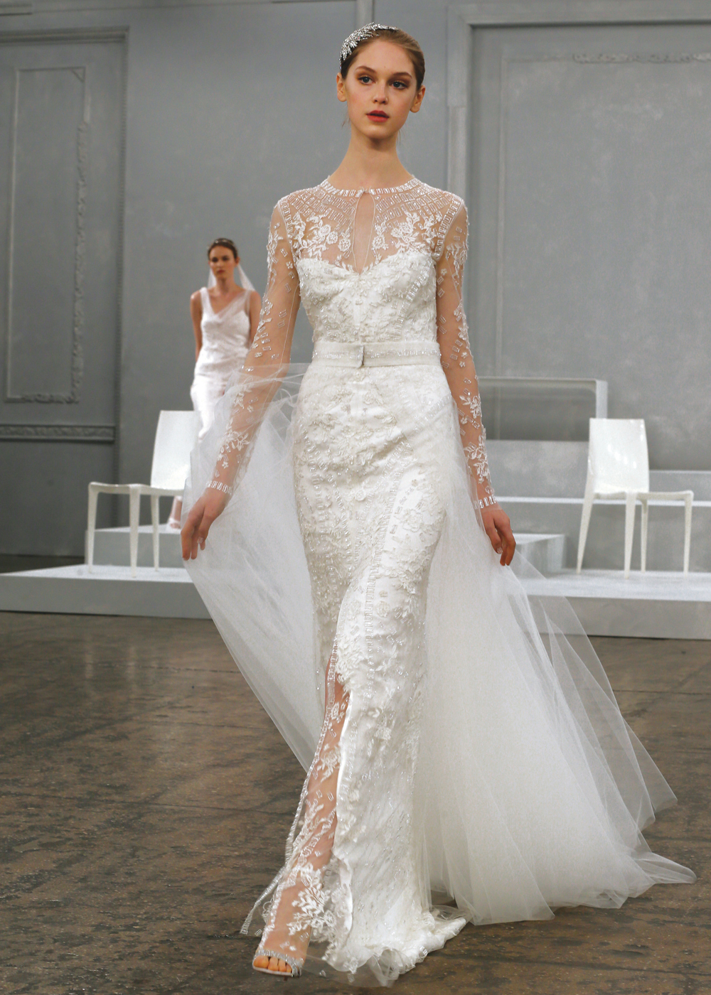Monique Lhuillier Vintage Sheath Wedding Gown