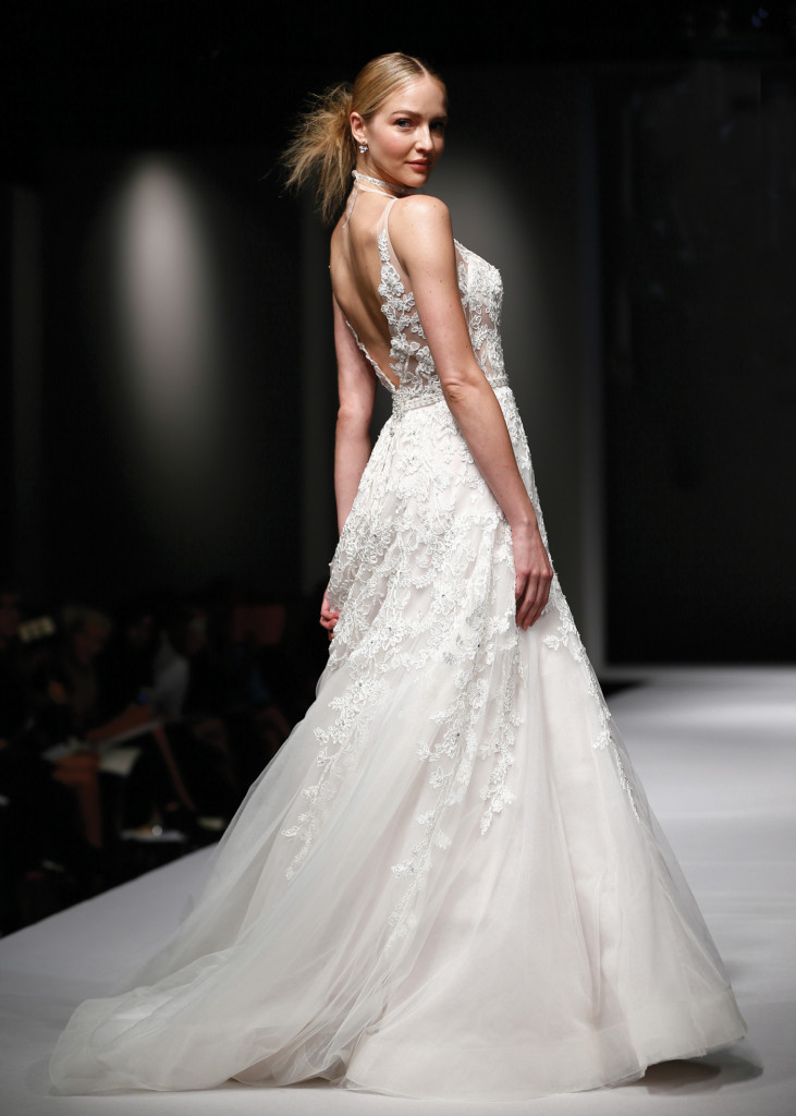 Eve Of Milady Classic A Line Spaghetti Strap Wedding Gown